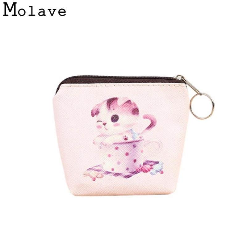 Naivety Mini PU Leather Coins Purses Cartoon Cat Printing Coin Purse Small Zipper Ring Wallet 50S71213 drop shipping