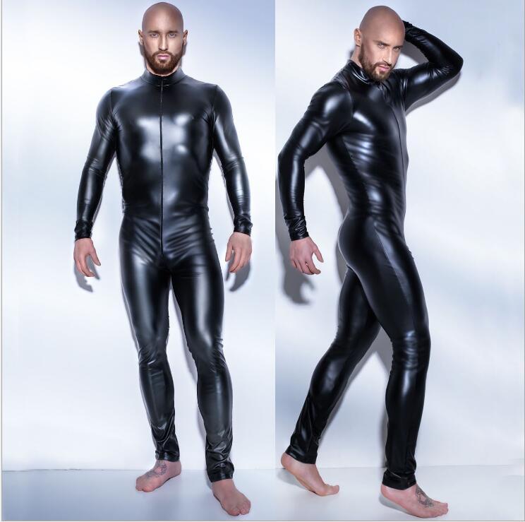 Plus size 3XL man leather latex catsuit Teddy bodysuit black shiny Erotic Lingerie Bodysuits Zentai Body Wear One Piece jumpsuit