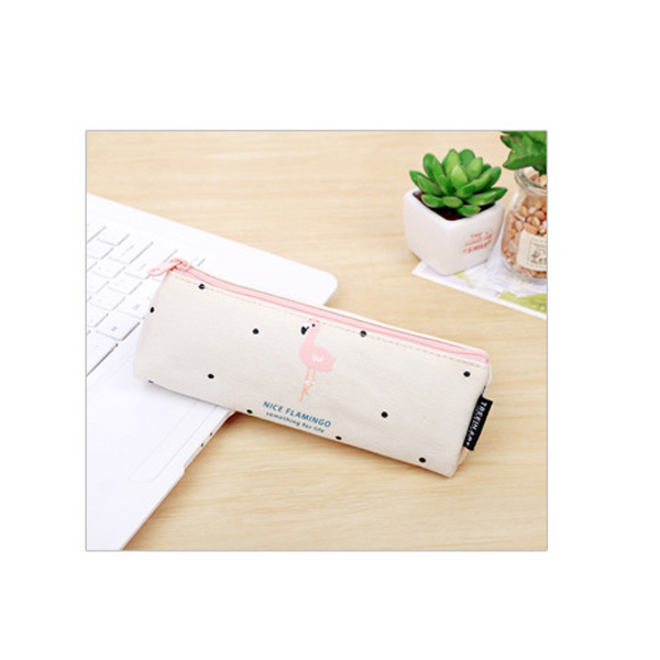 2017 Kawaii Pencil Case Flamingos canvas School Supplies Bts Stationery Gift Estuches School Cute Pencil Box Pencil Bag