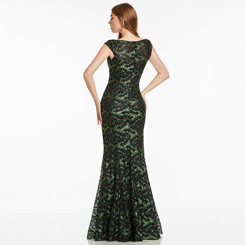 Dressv黒ロングイブニングドレス安いスクープキャップスリーブレースマーメイド床長さのウェディングパーティーフォーマルドレスイブニングドレス