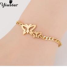 Yiustar ajustable pulsera de cadena con encanto de la mariposa de moda regalo de la joyería para las mujeres niñas mariposa de acero inoxidable Joyeria