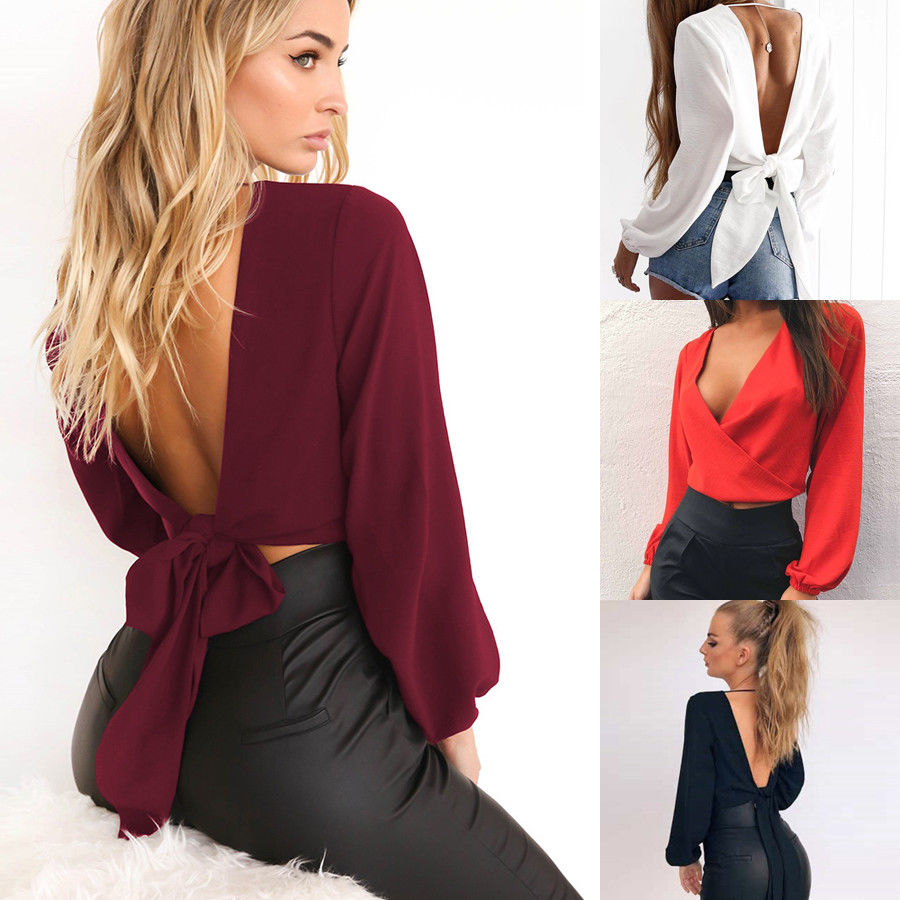 Womens Deep V Neck Backless Shirts Crop Tops Bandage Loose Party Blouses T Shrit