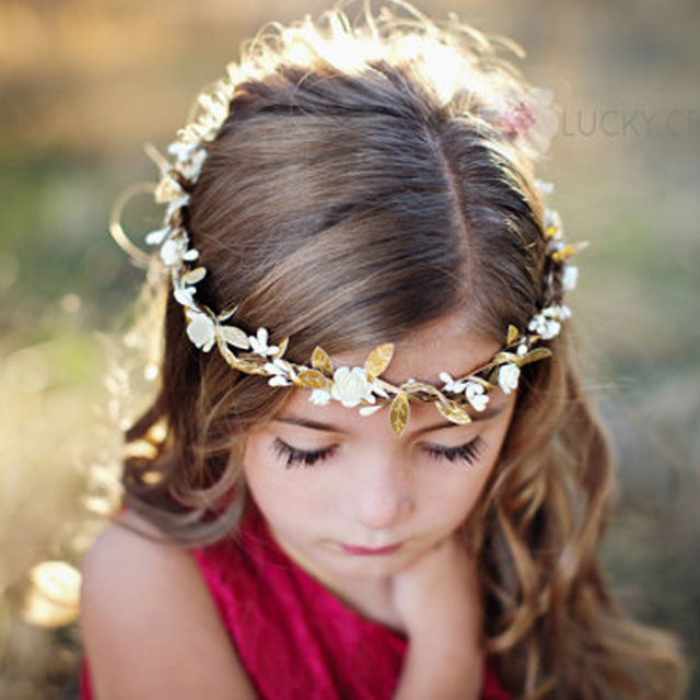 5f78b711c13 2017 girl wreath small flower gold leaf Girls Headband Flower Garland  photograph props Hair Accessories 20ps lot