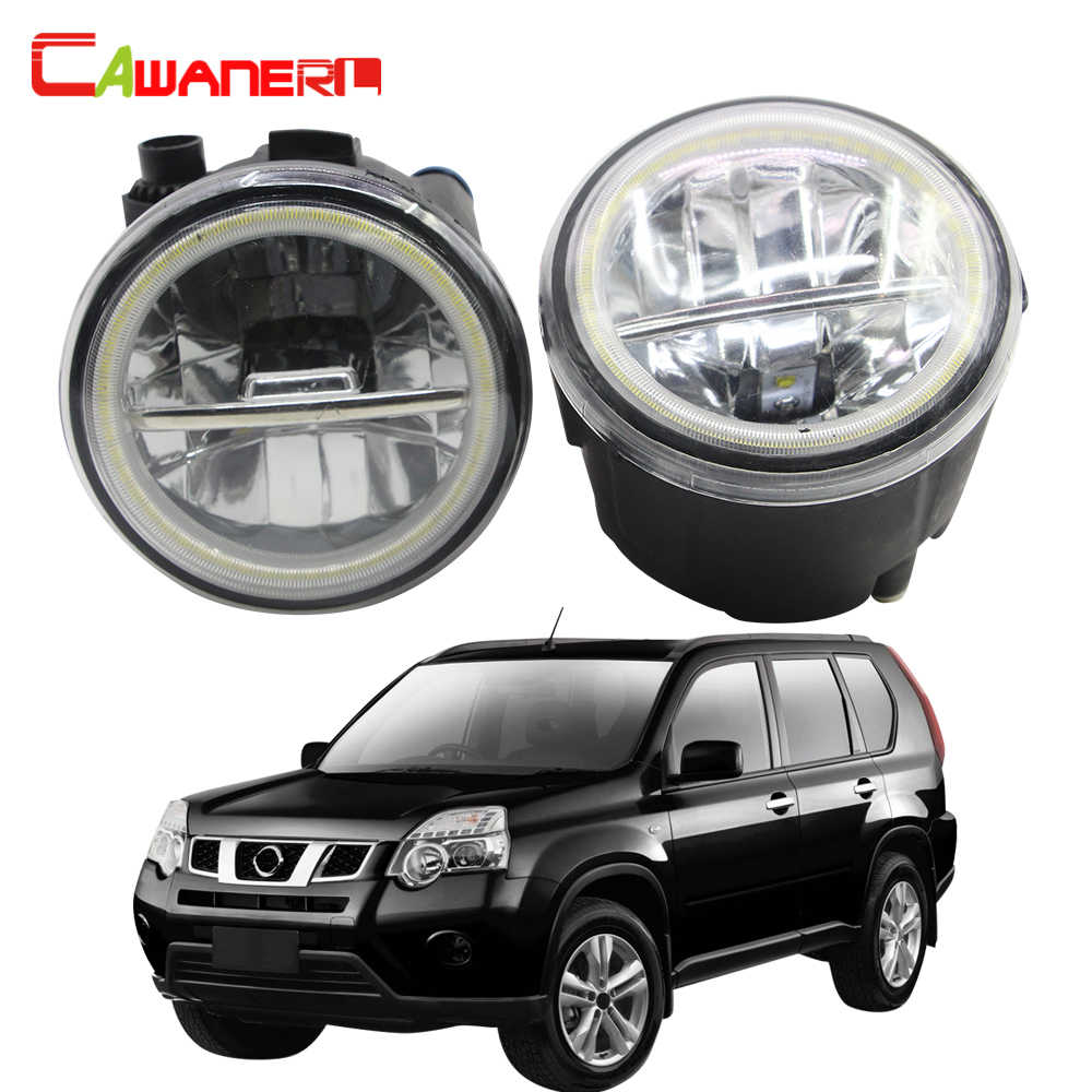 Cawanerl For Nissan X-Trail T31 Car  LED Fog Light + Angel Eye DRL Daytime Running Light 12V 2007 2008 2009 2010 2011 2012 2013