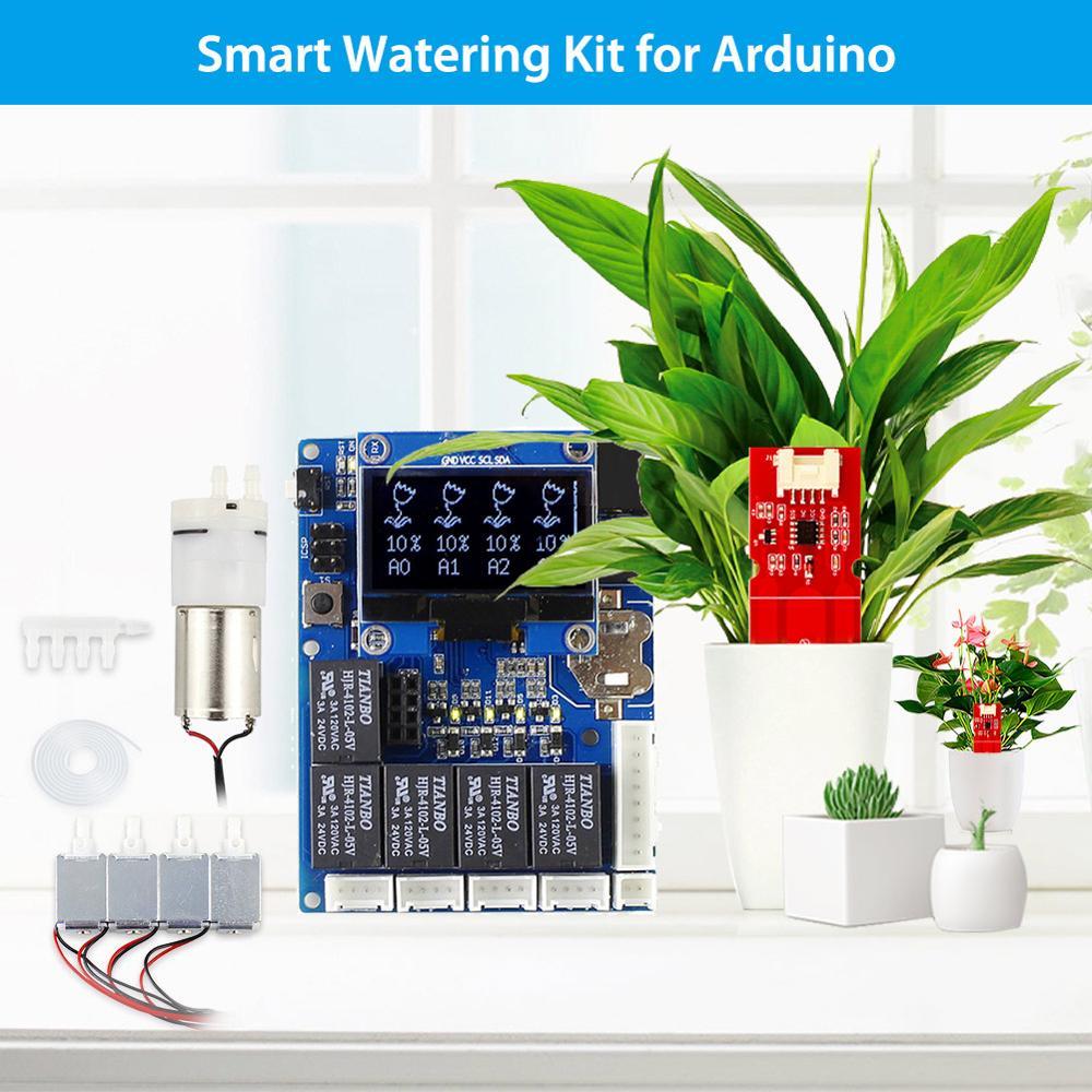 Elecrow Kit d'arrosage intelligent pour Arduino automatique jardinage eau plante Kit de bricolage en plein air avec capteur de sol capacitif écran LCD