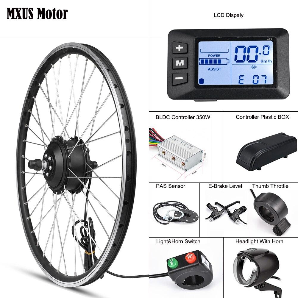 Mxus kit de conversão bicicleta elétrica motor da roda dianteira 350 w e bicicleta kit 48 v 36 v cubo traseiro 26