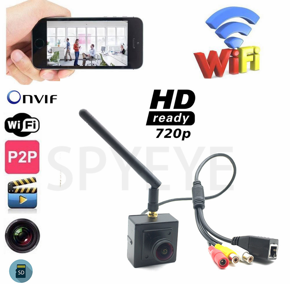 1.8MM Fisheye Small Mini IP Camera Wifi HD 720P Wireless CCTV Network Cam Audio Input&Output SD Card Support Android iPhone view