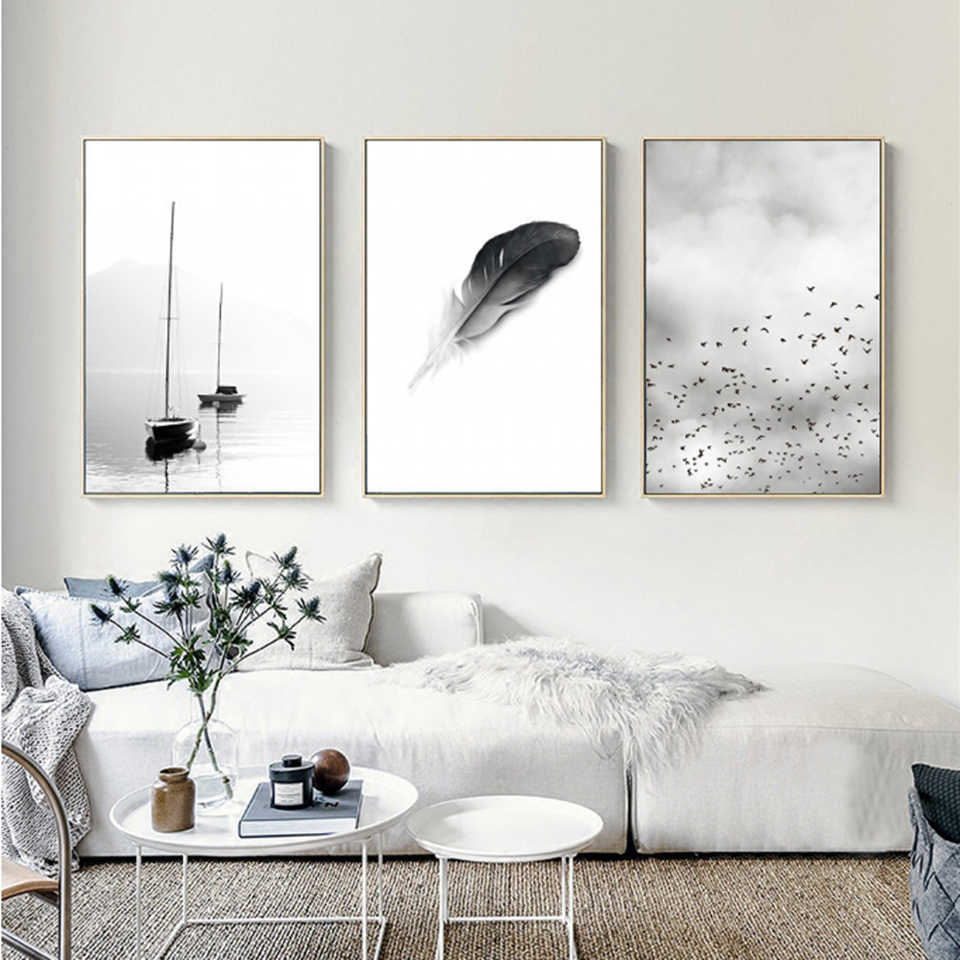 Black White Feather Landscape Abstract Canvas Painting Poster Print Wall Art Modular Pictures Bedside Background Home Decor