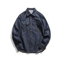 Винтажные американские ковбойские рубашки Selvage 60 s Ретро 10 унц.. джинсовые рубашки для мужчин