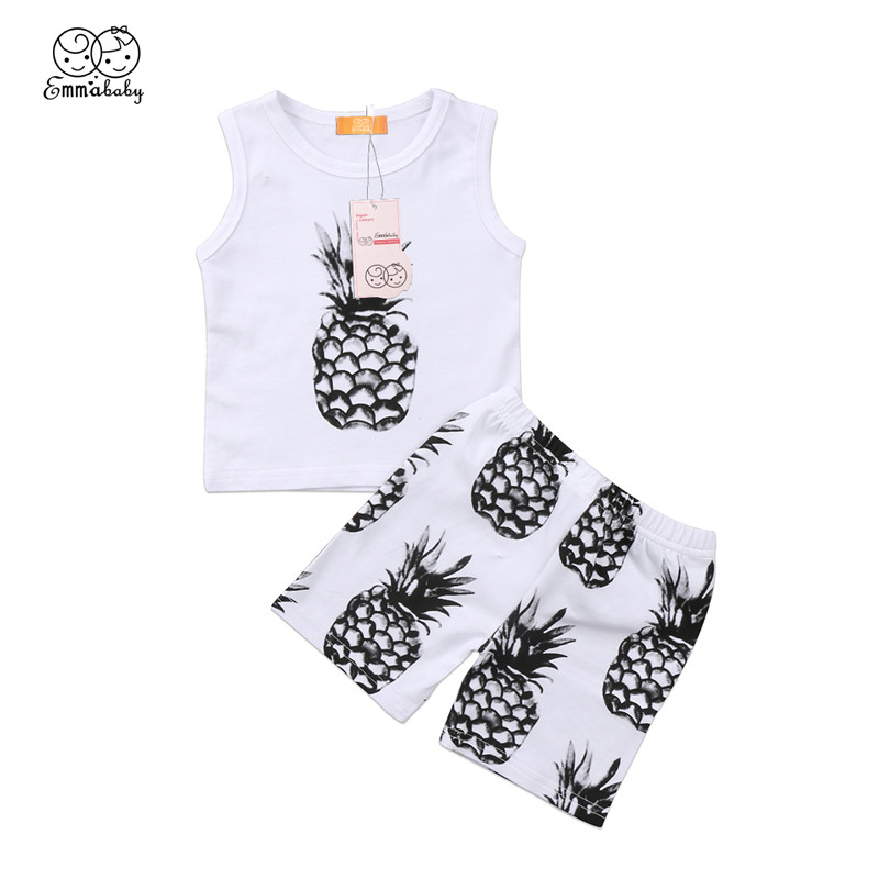 Summer Baby Boy Cotton Clothes Set Casual Newborn Baby Boy Sleeveless Tank Top+Short Pants Baby BoyS Pineapple Clothing Set 0-3Y baby boy clothes monkey cotton t shirt plaid outwear casual pants newborn boy clothes baby clothing set