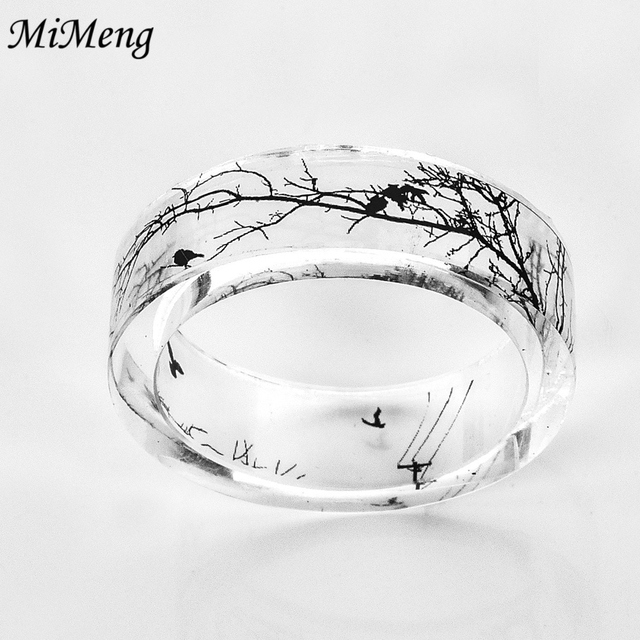Unique Landscape painting Design Clear Resin Ring for man women