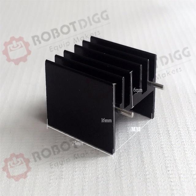 8pcs/lot  25mm length 23mm width 16mm height   High Quality Super Heat Conduction Aluminum Black Heatsink with Needles