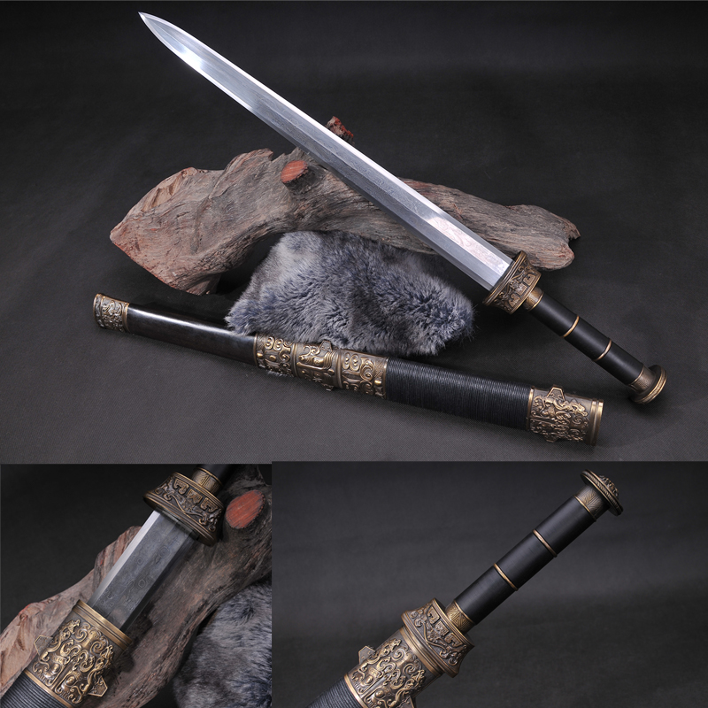 Chinese Traditional Sword Hand Forged Damascus Folded Steel Martial Art House Decorative Full Tang Dragon Jian-in Swords from Home & Garden    1
