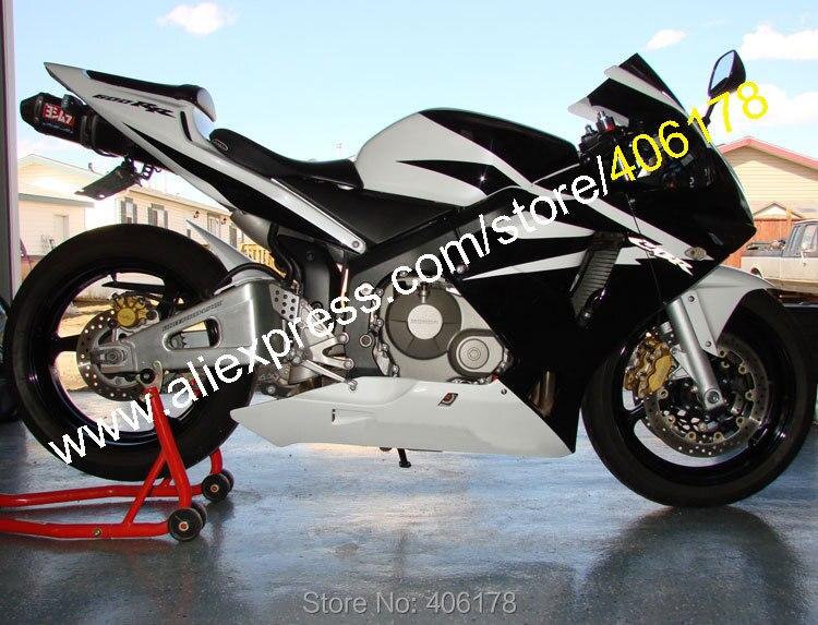 Vendas quentes, Para Honda CBR600RR 03 04 F5 CBR 600RR CBR600 RR 2003 2004 Preto ABS Branco carenagem Da Motocicleta Kit (moldagem por injeção)