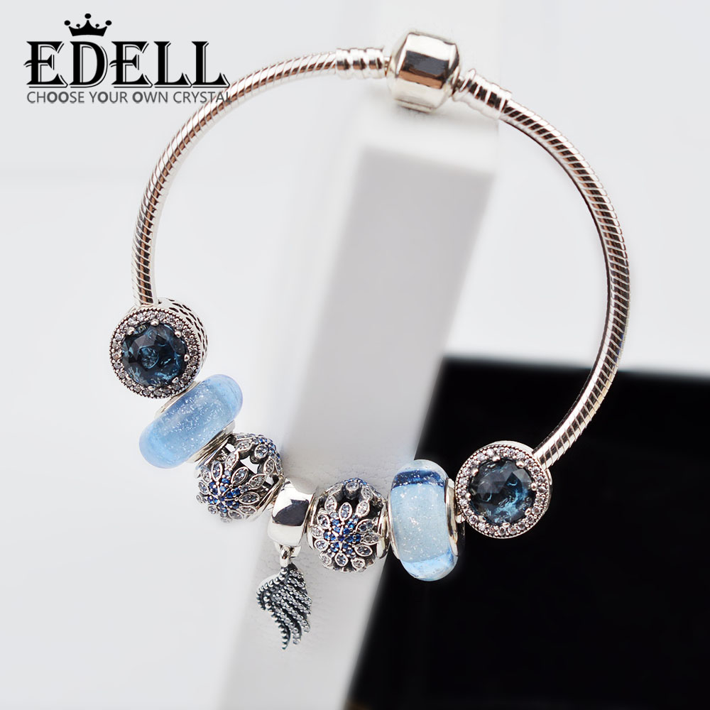 EDELL 925 Sterling silver Summer Style European Charm Bracelet with Water Drops Sling Charm Bracelets for Women Gift