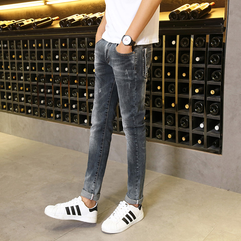 Gradient color grab pattern pencil pants Crimping Stretch Cotton Vintage Blue Casual Street Style Simple Good
