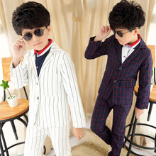 4 — 13 лет мальчиков комплект одежды детей пиджак / пальто + брюки / брюки из двух весна и осень джентльмен плед полосы подходит