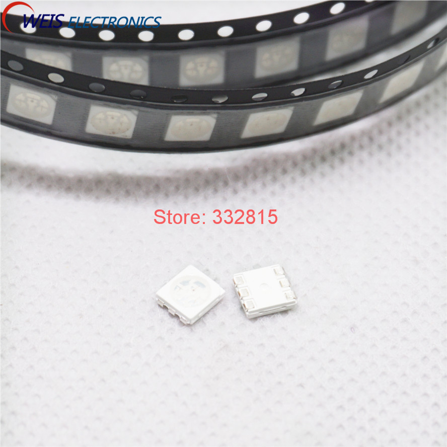 500PCS 5050 RGB LED SMD-6 6PIN 5.0x5.0 2.0-3.2V red blue green colorful Light Emitting Diode light beads Free shipping