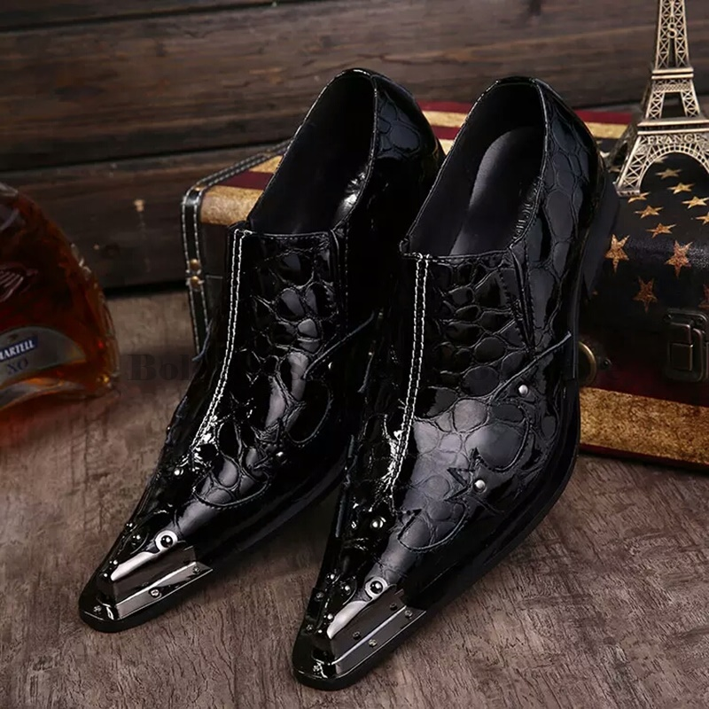 2019 Newly Mens Quality Patent Leather Metal Toe Shoes Zapatos de hombre Size 38-47 Black Leather Soft Man Dress Shoes2019 Newly Mens Quality Patent Leather Metal Toe Shoes Zapatos de hombre Size 38-47 Black Leather Soft Man Dress Shoes