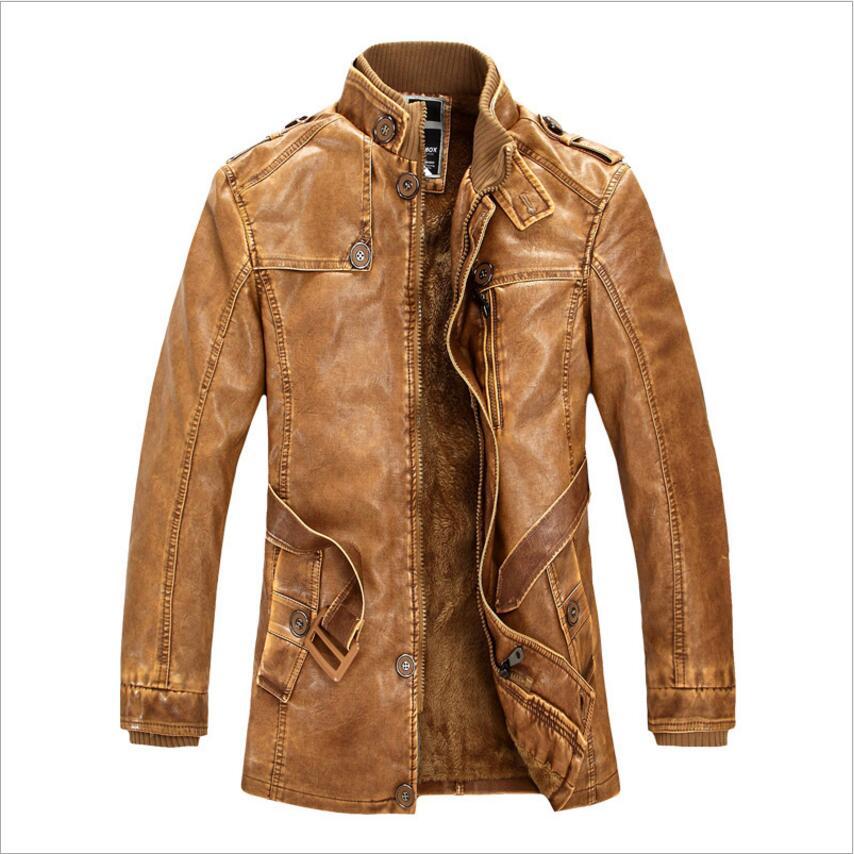 Nouveau 2019 mode hiver hommes veste en cuir synthétique polyuréthane moto manteaux épais polaire chaud survêtement Slim Fit mâle en cuir manteau marque vêtements