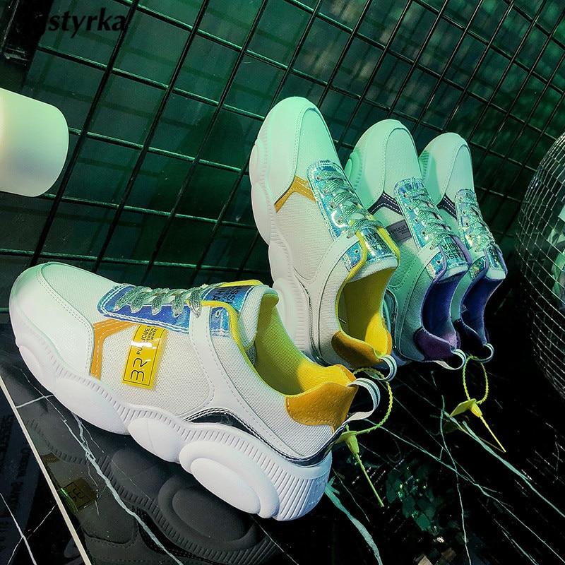 Semelle Tenis Respirant jaune Confortable Femmes Mode 2019 Mélangées Paillettes Kjstyrka Pourpre Sneakers Couleurs Tissu Feminino Mignon Nouveau Ours Brillant n6FUqZ