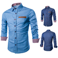 Features decorative ribbon washed cotton casual men's   long-sleeved denim shirt Slim