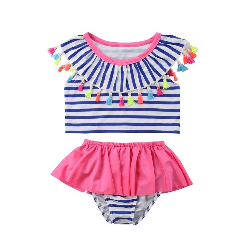 Cute Girls Striped Bikini Set Child Kids Girl Two Pieces Swimwear Tassels Ruffles Collar Swimsuit Bathing Suit Beachwear Tankini