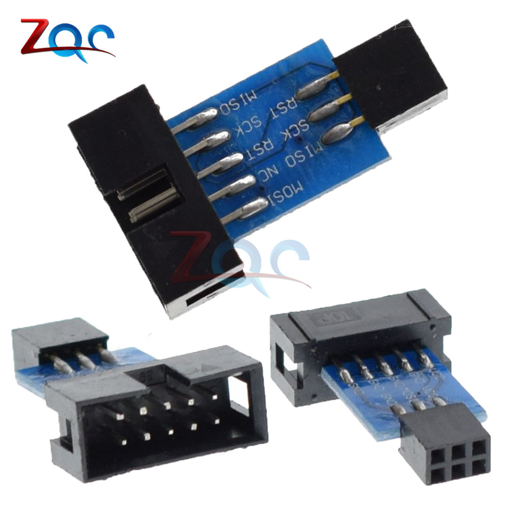 где купить 2pcs 10Pin To 6PiN Convert To Standard 10 Pin To 6 Pin Adapter Board For ATMEL STK500 AVRISP USBASP ISP Interface Converter AVR дешево
