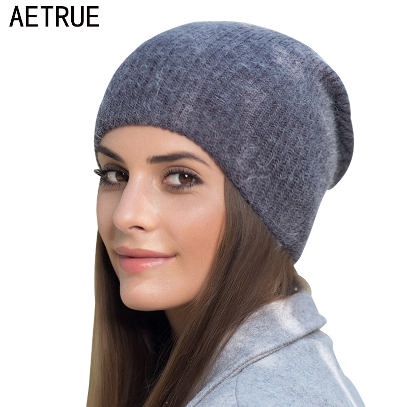 1a25fa96b3617 AETRUE Skullies Beanies Knitted Hat Women Rabbit Wool Winter Hats For Women  Girls Warm Cap Baggy
