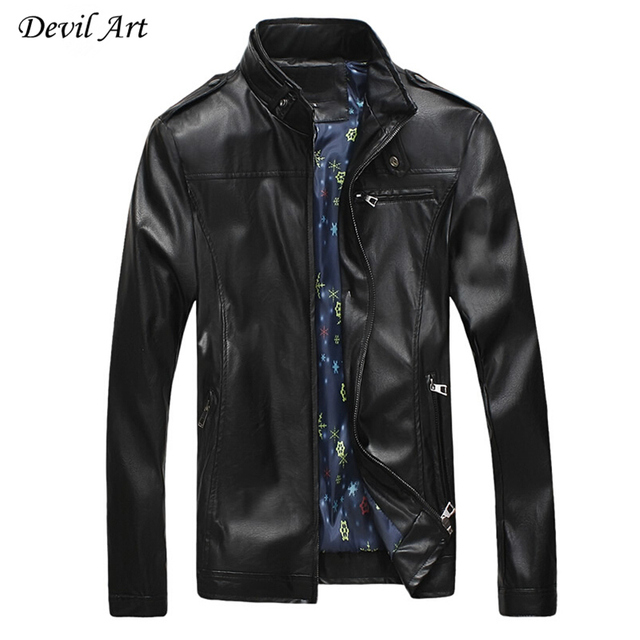 2017 New Arrival Men's Leather Jacket And Coats Epaulettes Modify Motorcycle Slim Fit Jacket Plus Size:M-5XL Free Shipping P106
