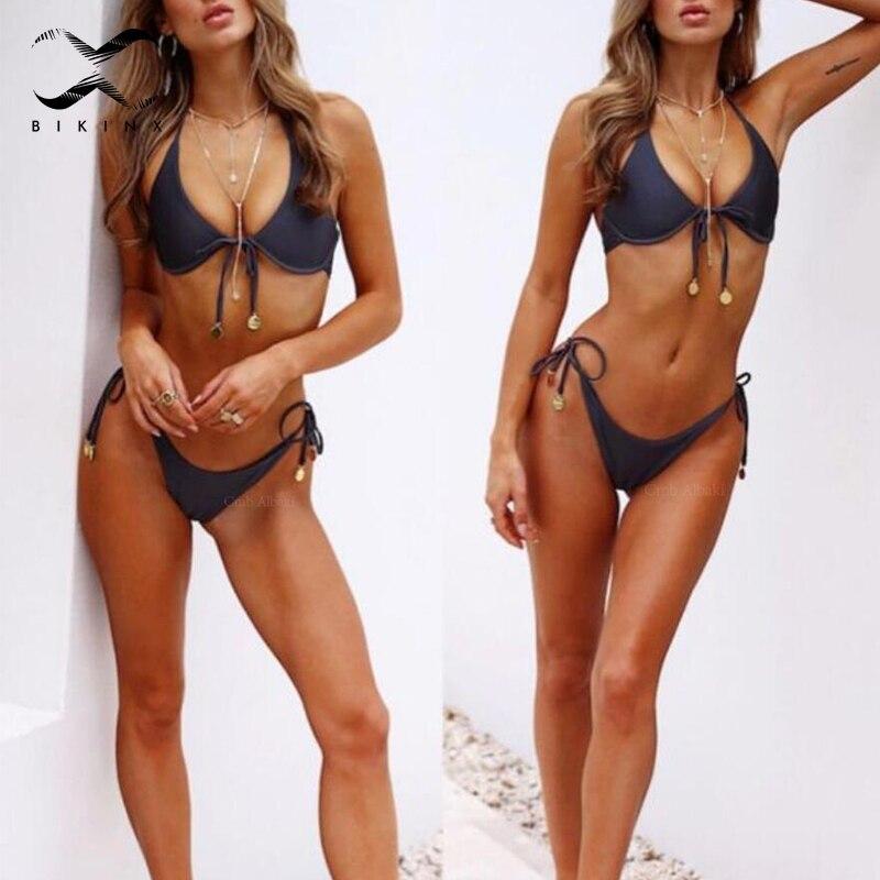50aba1295 Bikinx sutiã Acolchoado micro bikini top Push up maiô 2018 maiô sexy  triângulo de Cordas mulheres swimwear biquínis Brasil biquíni