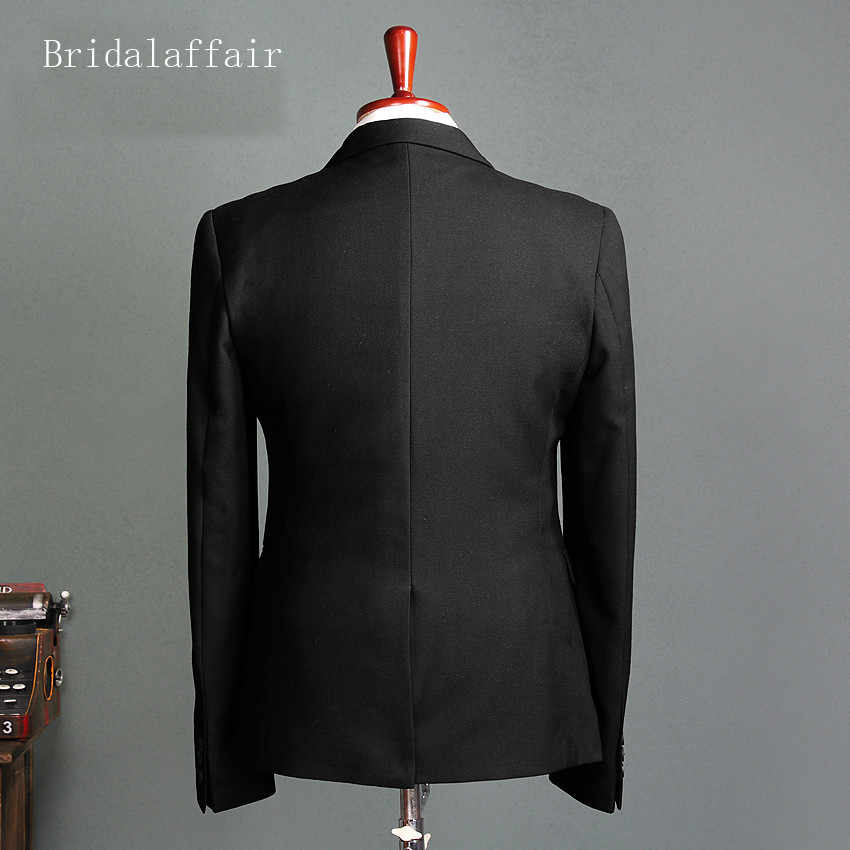 Bridalaffair Latest Black Wedding Suits For Men Blazer Formal Men's Business Suits Set Groom Tuxedo 3 Piece Jacket Pants Vest