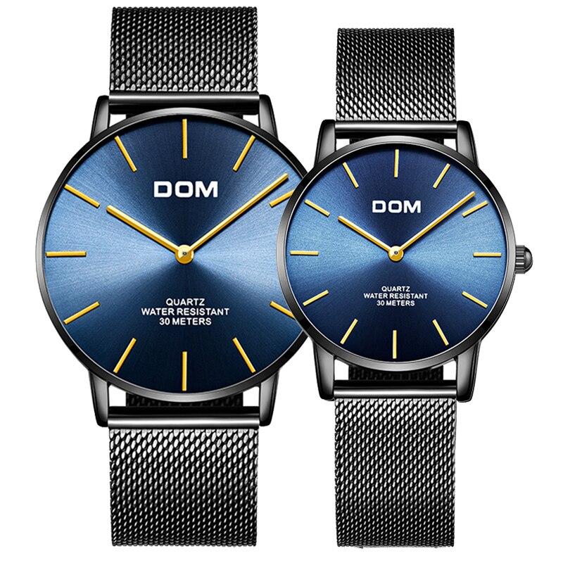DOM Women Dress Watches Luxury Lovers Couple Watches Men Simple Waterproof Women Leather Strap Quartz Wristwatch Montre Homme