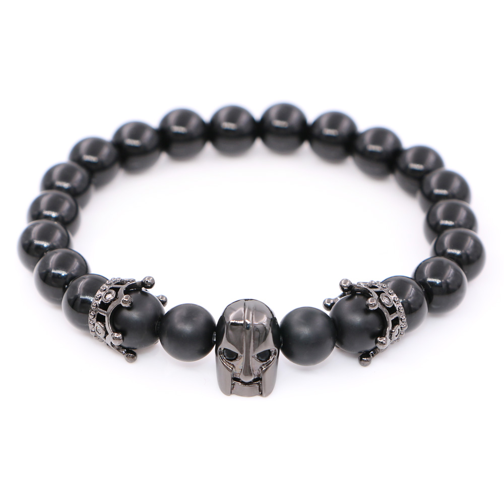 Spartan warrior Men Jewelry skull Leonidas Crown Charms bracelet for Men Onyx beads bracelet man Strand Bracelet Pulsera