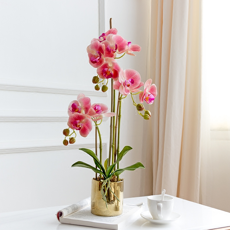 high grade well designed table flower + vase artificial Latex orchid flower arrangement real touch ins popular