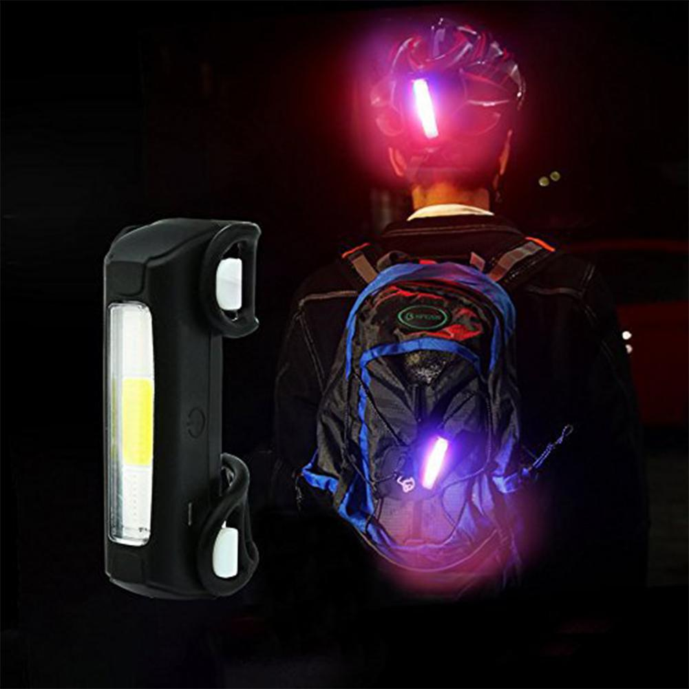 LumiParty LED Light Waterproof Bicycle Tail Lamp USB Chargeable with Res Blue White Light Warning Light Bike Mountain Emergency