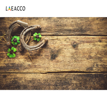 Laeacco Clovers Old Wooden Boards St. Patricks Day Photography Backgrounds Customized Backdrops For Photo Studio