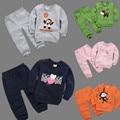 Novas crianças Outfits Treino dos desenhos animados Roupas das meninas do bebê Moletom Com Capuz + Calça Esporte Dos Miúdos Terno Menino Conjunto de roupas de lã