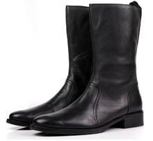 Удобная молния колено высокие черные зимние сапоги мужские случайные сапоги из натуральной кожи сапоги мужские мотоцикла сапоги