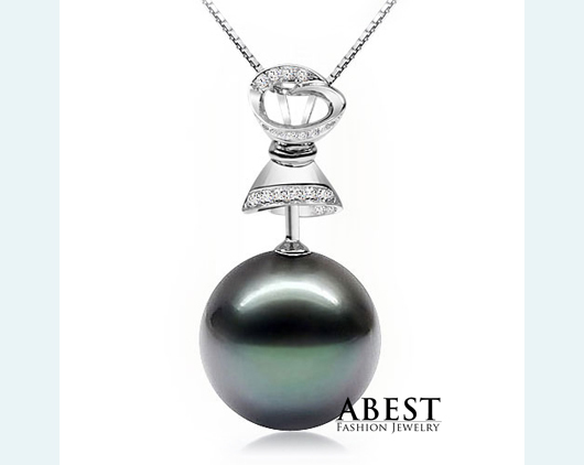 Natural Tahitian Black Pearl 11-12mm Fashion  Pendant & Chain Wholesale  Silver Jewelry in Micro Setting