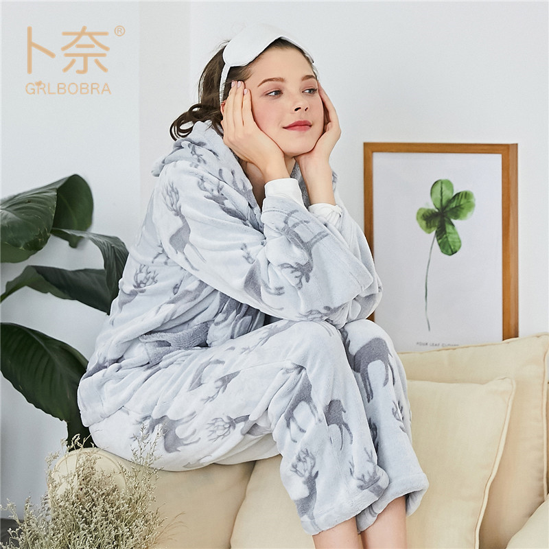 Grlbobra Fawn back printing nightgown Luxury silk flannel winter robes ladies kimono bathrobe men and women robe ladies pajamas