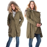 Maternity Clothings Spring Winter Jackets Kangaroo Outfit Mother Fur Hoodied Coat Patchwork Woman Outwear Maternity Jacket S 3XL