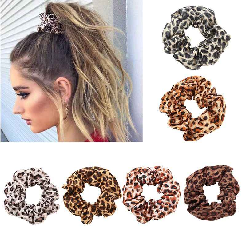 Women Chiffon Fabric Large Intestine Hair Rope Boho Vintage Colored Leopard Digital Printing Ponytail Holder Ruched Elastic