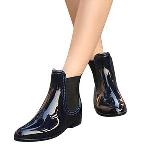 Image 2 - أحذية طويلة للربيع والشتاء من Feng Nong أحذية طويلة بتصميم علامة تجارية للكاحل مزودة بأربطة مرنة أحذية بدون كعب للنساء أحذية بدون كعب مقاومة للمياه من المطاط الصلب Cd609