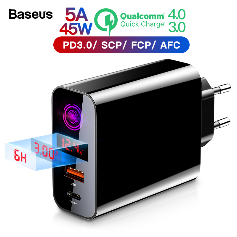 Baseus Carga Rápida 4.0 3.0 Carregador USB Para iPhone Xiaomi Samsung Huawei SCP QC4.0 QC3.0 QC C PD De Parede Rápido carregador Do Telefone móvel