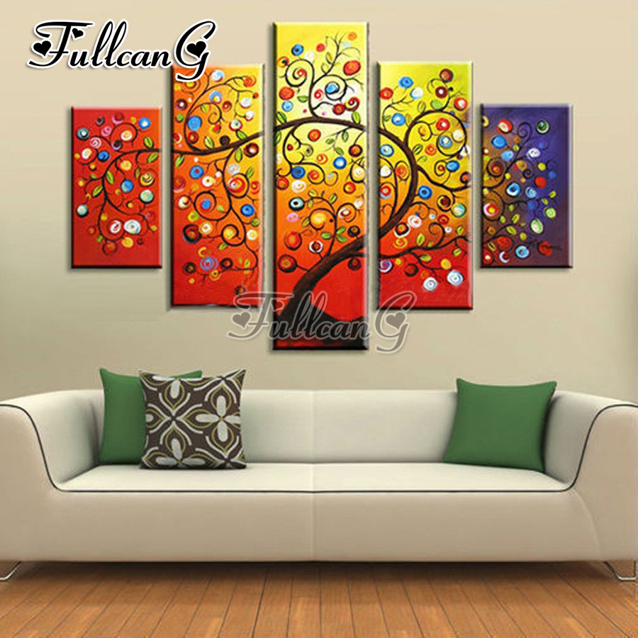 FULLCANG 5pcs diy diamond painting quot Apple tree quot full drill 3d cross stitch mosaic embroidery multi picture decor gift G1186 in Diamond Painting Cross Stitch from Home amp Garden