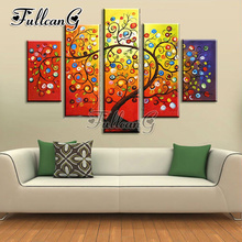 FULLCANG 5pcs diy diamond painting Apple tree full drill 3d cross stitch mosaic embroidery multi-picture decor gift G1186
