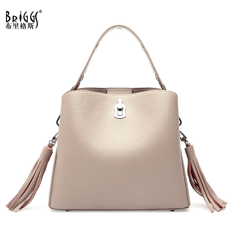 BRIGGS Luxury Handbags Women Fashion Shoulder Bag Ladies Hand Bags Designer High Quality Genuine Leather Tote Bag Female in Top Handle Bags from Luggage Bags