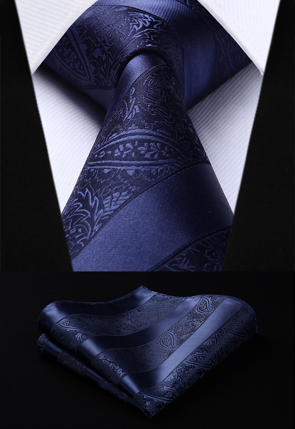Party Wedding Classic Fashion Pocket Square Tie Woven Men Navy Blue Tie Paisley Necktie Handkerchief Set#TP804V8S