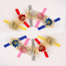 1PC Cute Kid Girl Newborn Crown Headband Princess Queen Crown Hairband Pearl Tiara Lace Headwear Hair Accessories 5Colors(China)